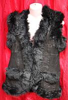 Теплая жилетка женская натуральная Nebat из овчины и кожи - класика черная