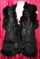 Женская тёплая натуральная жилетка Nebat (овечья шерсть и высококачественная кожа)