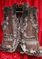 Женская тёплая натуральная жилетка из овечьей шерсти и кожи фирмы Nebat