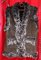 Женская теплая натуральная жилетка Nebat (овечья шерсть и кожа)