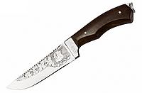 Нож охотничий с рисунком Парусник, с чехлом из кожи, ножи для охоты, нескладные ножи