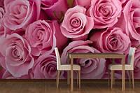 """Фотообои """"Розовые розы в кухне"""", текстура песок, штукатурка"""