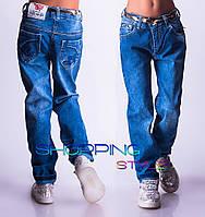 Детские джинсы для девочки Хвоя с золотым пояском 3-7 лет