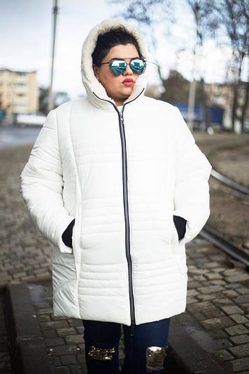 Зимняя куртка больших размеров София белая 48-74