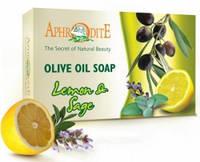 Натуральное оливковое мыло с маслом лимона и шалфея, 125 г