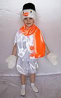 Детский новогодний карнавальный костюм для мальчика Снеговик искусственный мех белый / оранжевый от 3 до 7 лет