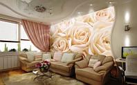 """Фотообои """"Чайные розы в интерьере"""", текстура песок, штукатурка"""