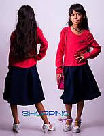 Детское подростковое платье Брошка розовый верх+синяя стеганная юбка