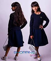Детское подростковое платье Брошка темно-синее со стеганной юбкой