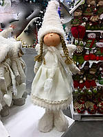 Мягкая игрушка ангелочек - девочка (стоячий). Игрушки под елку.