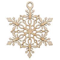 Новогодняя деревянная елочная игрушка заготовка Снежинка подвеска_4