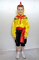 Детский новогодний костюм для мальчика Петушок  жёлтый /чёрный атлас от 3 до 7 лет