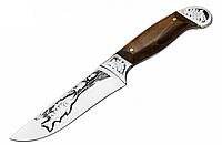Нож охотничий Рыбацкий 2 с рисунком щуки, с кожанным чехлом, ножи для охоты