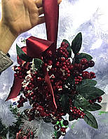 Омела новогодняя декоративный шар ягодами  и листьями.26 см