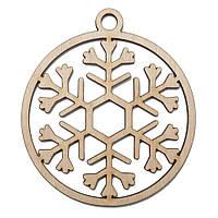 Новогодняя деревянная елочная игрушка заготовка Снежинка в шаре_7
