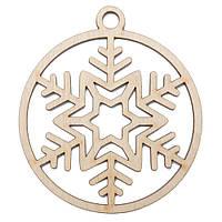 Новогодняя деревянная елочная игрушка заготовка Снежинка в шаре_8