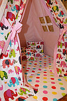 """Детский игровой домик, вигвам, палатка, шатер, шалаш """"Индийские слоны"""""""