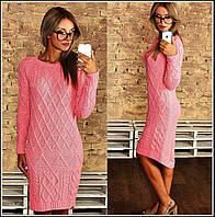 Теплое вязанное платье  иб014