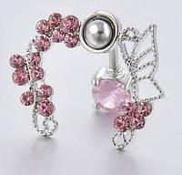 Серьга в пупок розовый фианит