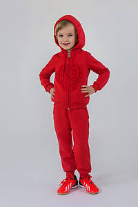 Утеплений спортивний костюм для дівчинки 3-6 років (толстовка+штани) ТМ Модный карапуз (корал) 03-00613