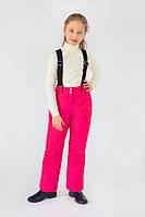 Теплые детские брюки на бретелях для девочки 5-8 лет, р. 110-128 ТМ Модный карапуз Малиновый 03-00670-0