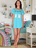 Ночная сорочка с коротким рукавом (Голубой)