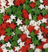 Посыпка звезды белые, зеленые, красные 50 грамм