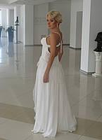 Платье вечернее, белое с шифоном