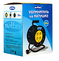 Удлинитель на катушке SVITTEX 25 м на 4 гнезда с сечением 2х1,5 мм, SV-004