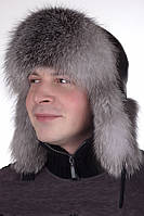 Мужская ушанка из натурального меха Блюфрост  М 5555  Серый
