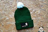 Модная шапка мужская carhartt зеленая с бубоном