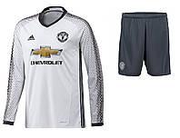 Футбольная форма Манчестер Юнайтед с длинным рукавом (резервная), новый сезон 16/17 , фото 1