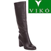 Сапоги женские Viko (черные, из натуральной кожи, на высоком каблуке, стильный дизайн, модные)
