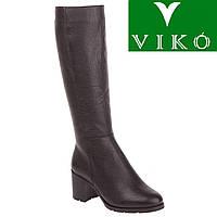 Сапоги женские Viko (черные, кожаные, на удобном каблуке, стильный классический дизайн, комфортные)