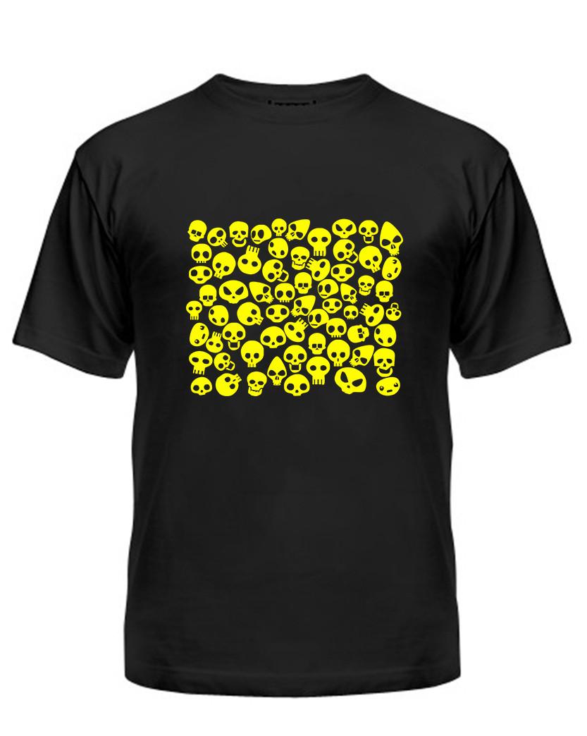 Мужская футболка с принтом черепа желтый