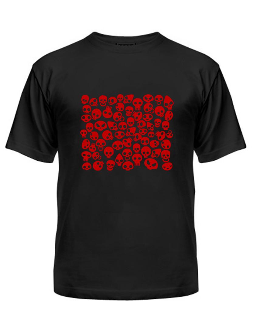 Мужская футболка с принтом черепа красный