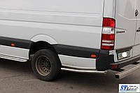 Volkswagen Crafter 2006+ и 2011+ гг. Боковые трубы за задним колесом (2 шт, нерж) Короткая база