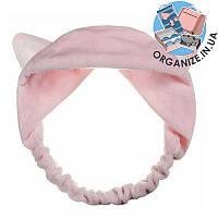 Косметическая повязка на голову с ушками (розовый)
