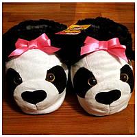"""Мягкие тапочки-игрушки """"Панды"""", розовый бантик"""