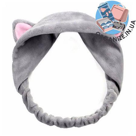 Косметическая повязка на голову с ушками (серый)