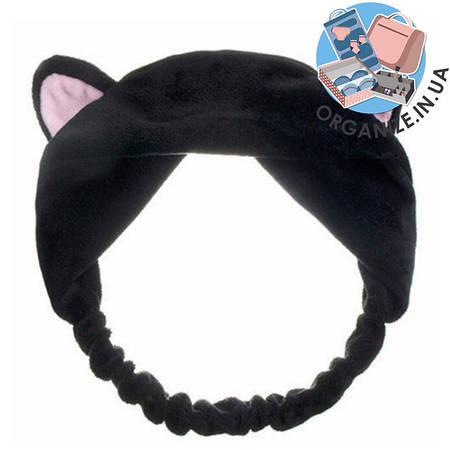 Косметическая повязка на голову с ушками (черный)