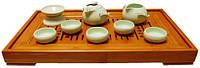 Набор для чайной церемонии из фарфора, гайвань 130 мл, чахай 130 мл, пиалы 50 мл, сито