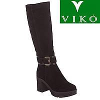 Сапоги женские Viko (черные, замшевые, на платформе и широком каблуке с стильным ремешком на лодыжке