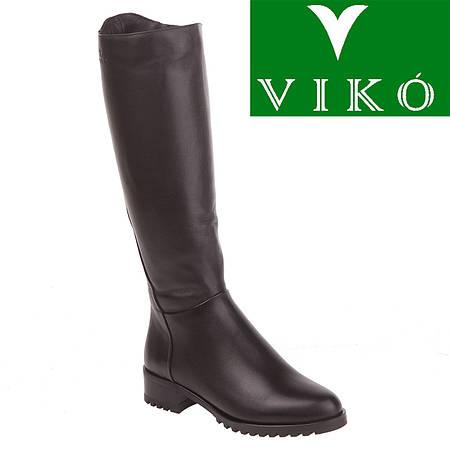 Сапоги женские Viko (кожаные, черные, на овчине, на низком ходу, удобные, комфортные)