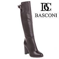 Сапоги женские Basconi (стильные, изысканные, элегантные, на высоком каблуке, кожаные, черные)