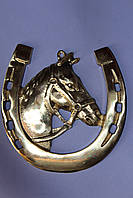 Сувенирная подкова с лошадью из бронзы
