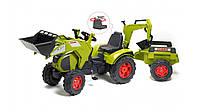 Трактор на педалях Claas Axos Falk  прицеп 2 ковша салатовый