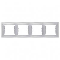 Рамка 4 поста горизонтальный монтаж алюминий Schneider Electric Sedna