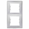 Рамка 2 поста вертикальный монтаж алюминий Schneider Electric Sedna