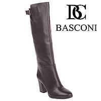 Сапоги женские Basconi (элегантные, на высоком каблуке, кожаные, с пряжкой в верхней части)